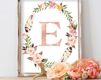 Nursery Print, Monogram, Nursery Wall Art, Kids Wall Art, Blush Nursery, Baby Gift, Floral Wreath Letter, Pastel Nursery Art, Rose Gold Foil