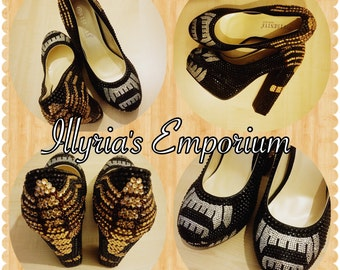 Xenomorph Alien Facehugger Rhinestone Shoes