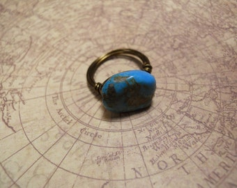 Blue Stone Bronze Wire Wrapped Ring