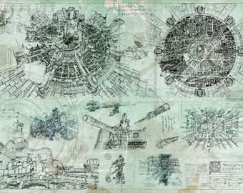 Final Fantasy - Midgar Blueprint / Aged Specs  (A2 = 420mm*594 or 16.5' * 23.4')