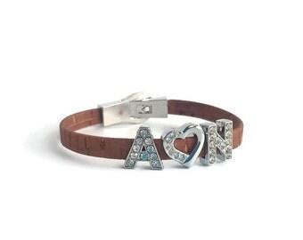 Personalized cork bracelet, couple initials bracelet, monograms, couple jewelry, vegan bracelet, unique bracelet, personalized bracelet