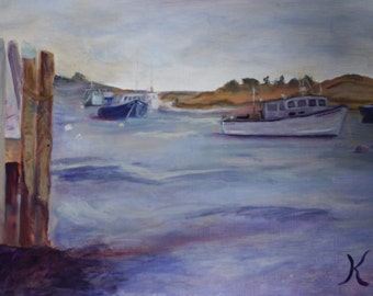 Chatham Fish Pier, Oil Painting