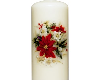 Poinsettia  Ivory Pillar Candle (Unscented)