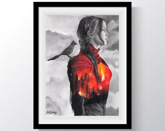 The Hunger Games Girl on Fire Art Print