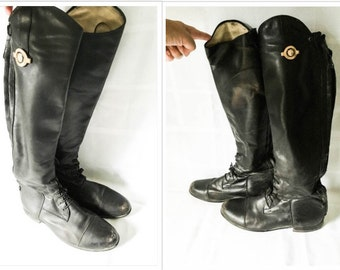 Riding boots - Black leather Riding boots - Der Dau equestrian boots - Leather riding boots - dressage boots - Horse back boots
