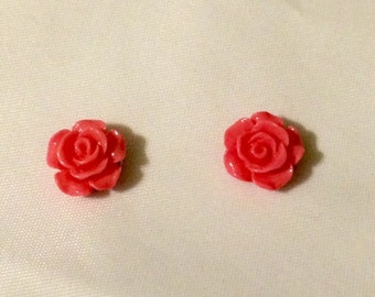 Magnetic Pink Flower Earrings