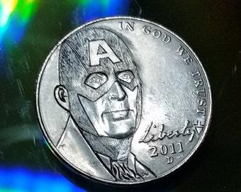 2011 D Captain America Hobo Nickel with Avengers Logo on back