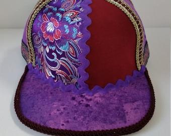 Handmade Snapback Hat, One of a Kind Hat, Festival Snapback- No. 39 (purple, brick/burgundy, baby blue, floral print)