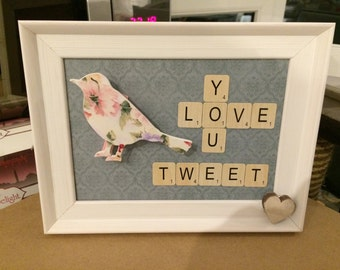Love you tweet heart one of a kind hand made frame home decor