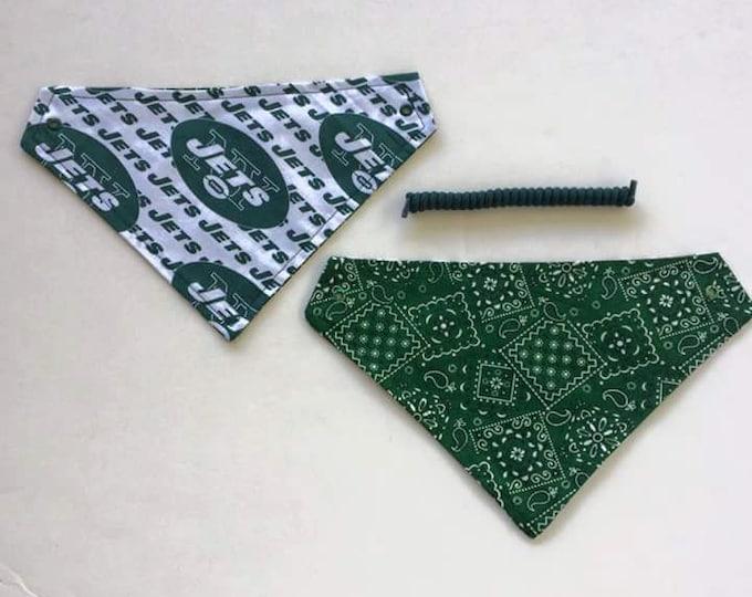 New York football fabric, reversible custom pet bandanas, sizes XS-XL, no-tie, no collar, pet wear, dog scarf, dog bandana, pet scarf