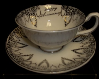 Royal Grafton Fine Bone China Happy Anniversary Cup & Saucer, Made in England Vintage Item #839  ON SALE NOW!!