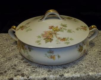 Haviland Limoges France Autumn Leaf Covered Vegetable Bowl Jewel Tea Company - Vintage Item #3185