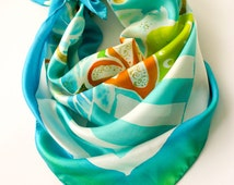 Square Silk Scarf Turquoise Floral Silk Bandana Hand Painted Batik Silk Satin Scarf Womens Scarf Gift for Women Gift for Mom