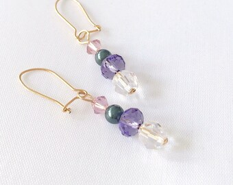 Earrings on small sleepers gold gold filled with Swarovski Crystal beads