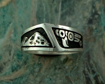 Mens Sterling Silver Northwest Native Ring Eagle and Mountain Scene, 925 silver, GIA021