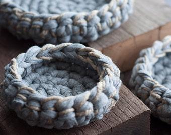 Nesting Bowls/ home decor/ storage basket/ organizer / farmhouse decor/ french country/ fixer upper decor/ crochet basket/ hemp