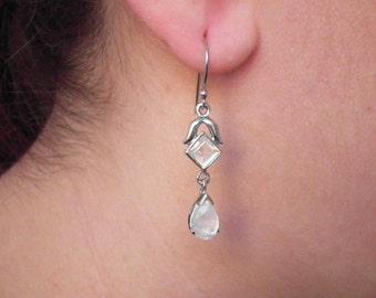 Rainbow Moonstone Earrings - Moonstone Dangle Earrings - Birthstone Earrings - Handmade Earrings - Moonstone Earrings