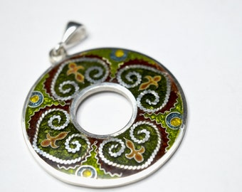 Cloisonne enamel, green/brown,medaillion