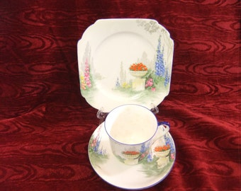"Vintage Shelley Hand Painted ""Garden Urn "" Pattern Trio Cup,Saucer and Plate 11618"