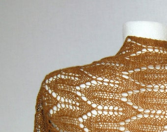 Mustard lace boho shrug / spring wedding bolero / bridal shrug / summer shawl sweater / merino and camel wool / hand knitted by knittysunny