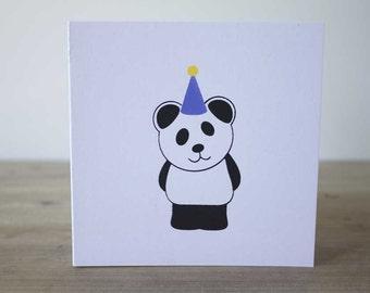 Panda Card, Panda Birthday Card, Panda Party Hat, Cute Panda Card, Birthday Card, Fun Birthday Card