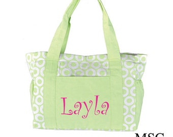 Monogrammed Diaper Bag/ Lime Green and White/ FREE MONOGRAM