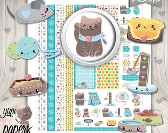 50%OFF - Cat Stickers, Planner Stickers, Planner Accessories, Pet Stickers, Animal Stickers, Maneki Neko, Lucky Cat, Stickers, Stickers