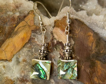 Abalone Dangle Earrings with only Sterling Silver FREE SHIPPING