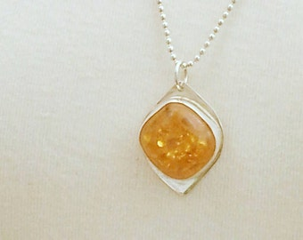 Large Sterling silver pendant with amber