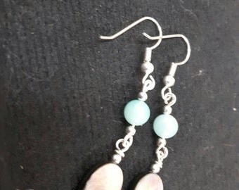Sea blue agate with mother of pearl drop earrings