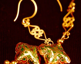 Cloisonne, gold vermeil earrings