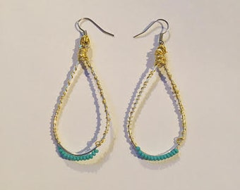 Turquoise and gold beaded oval hoops