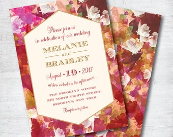 Marsala Wedding Invitation, Red Wedding Invitation, Fall Wedding, Wedding, Invitation, Red, Gold, Floral Invitation, Template, Printable