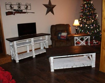 Rustic X Coffee Table End Table Console Table