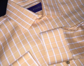 Mens J. L. Powell shirt 100% Cotton Orange M Medium