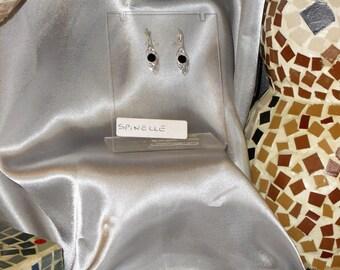 Earrings black stone spinel fine semi precious and Silver 925