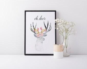 Oh Deer Print - Watercolour Deer Print - Floral Deer - Deer Wall Art
