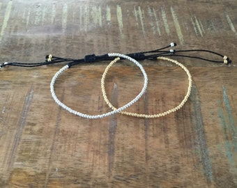 Silver or Gold Seed Bead Bracelet