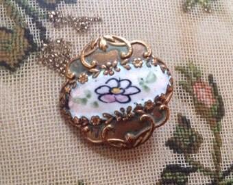 Antique Enamel on Brass Button. Floral.