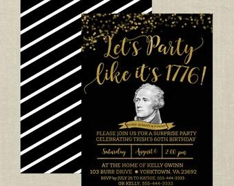 Hamilton Birthday Invitation--Black and Gold, Hamilton the Musical, Surprise Party