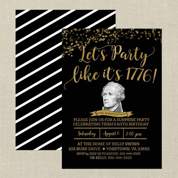 Hamilton Birthday InvitationBlack And Gold Hamilton The