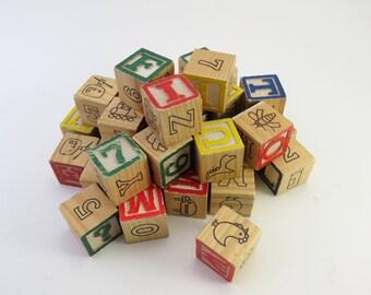 Vintage Set of 36 Wooden Blocks