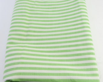 Three Yards of White & Green Striped Vintage Cotton Fabric