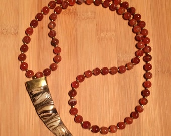 Brown and bone tusk pendant - The Caroline