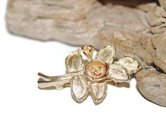 Vintage Avon Rose Pendant Brooch, Rose Pin, Gold Rose Jewelry, Gold Rose Pendant, Avon Collectibles, Vintage Avon Jewelry, Flower Pin