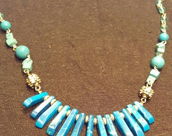 Real semi precious turquoise necklace