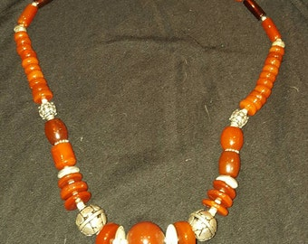 A stunning indian style hand designed red carnelian and sterling silver necklace..