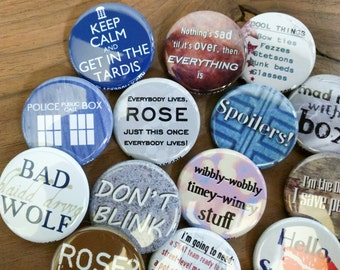 "Doctor Who  buttons 1.25"" / 32mm pin back button/badge: Don't Blink, Police Box, Spoilers, Come along Pond, Bad Wolf, Attack Eyebrows"