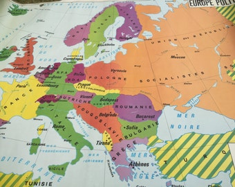 Map geography: Europe political and physical
