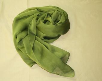 Seidenschal Seidenstola grün schwarz changierend